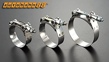 Fit fits for Hose OD Size = Pack of 2 fits for Fuel Pump Autobahn88 Stainless Steel Hose T-Bolt Clamp 67-75mm Filter 2.6-2.95 Inch Plumbing Hose