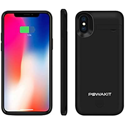 Powakit iPhone X XS Battery Case  5000mAH External Rechargeable Charging Case Full Protection