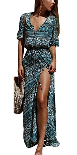 Split Print Women Floral Beachwear Jaycargogo Dress Belted Tunic Neck Boho V 4 Button 0RTnn4x