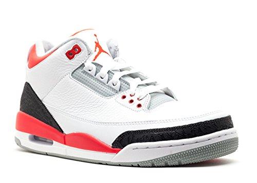 5cb346bd840 Galleon - Nike Men's AIR JORDAN 3 RETRO WHITE/FIRE RED-SILVER-BLACK 136064- 120 ((Men's): US 9)