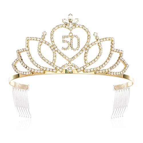 DcZeRong Women 50th Birthday Tiara Crowns 50th Queen Birthday Tiara Crown Gold]()