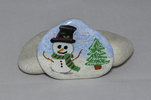 Snowman Winter Scene Design Hand-Painted Rock by Creations by Scott