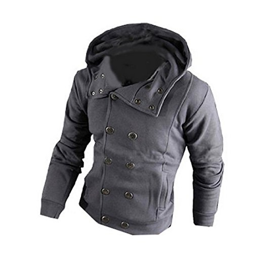 New Men Double Breasted Casual Hoodies Slim Long Sleeve Top Coat Outerwear (L, Blue Grey)
