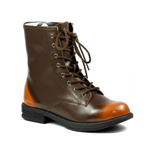 QUPID SEATTLE-06 Women's Round Toe Military Lace Up Booties, Color:COGNAC, Size:6