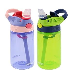 Contigo Kids Autospout Gizmo Water Bottles, 14oz (Lavender/Chartreuse) - 2 Pack