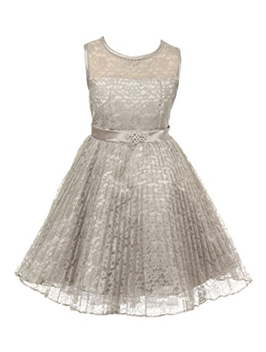 JM DREAMLINE Lovely Tulle Pleated Lace Flower Girl Dress (Silver, Size 14)