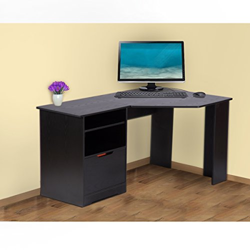 Corner Computer Desk With Bookshelves And File Cabinet By
