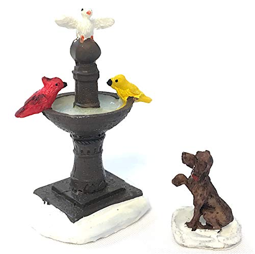Wee Creatures Miniature Winter Collectible Figurines - 2 Piece Set - Birds on Fountain and Dog - for Fairy Garden, Doll House or Miniature Display