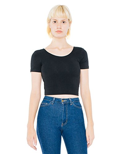 American Apparel womens Cotton Spandex Jersey Crop Tee(RSA8380)-BLACK-S American Apparel Jersey Tee