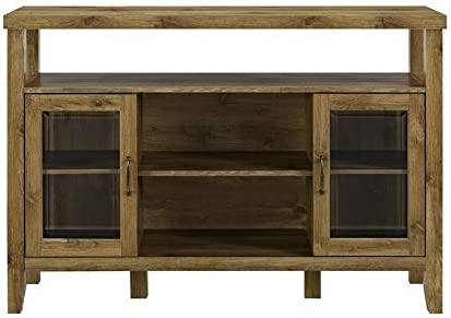 Pemberly Row Farmhouse Sliding Door Wood 52 Highboy TV Stand Console Buffet Credenza Storage Cabinet in Rustic Oak Barnwood
