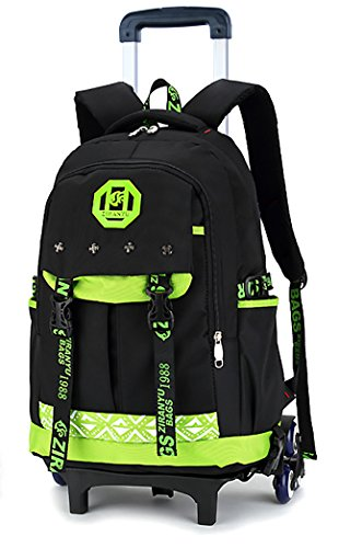 Meetbelify Kids Rolling Backpacks Luggage Six Wheels Unisex Trolley School Bags Green (Luggage School)