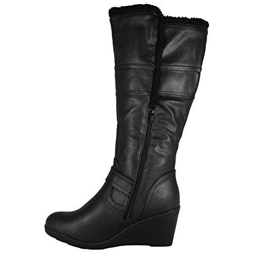 Tilly Shoes cuña caña alta Invierno Mid Calf Botas Biker con cremallera y pelo de tamaño Negro - negro