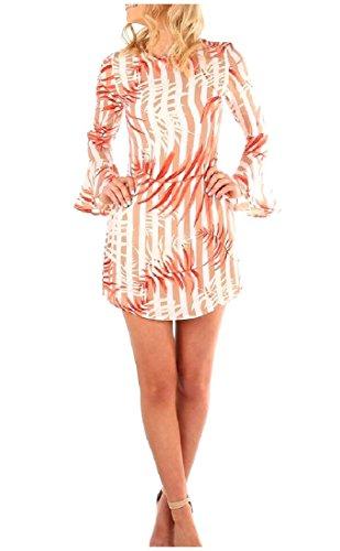 Apricot Floral Slimming Sleeve Dresses Short Flounced Long Tribal Comfy Women w1TzPP