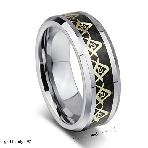 Campton 8 MM Size 7-13 Masonic GoldBlack Tungsten Steel Rings for Men Jewelry Gift   Model RNG - 1154   Gold Size 9