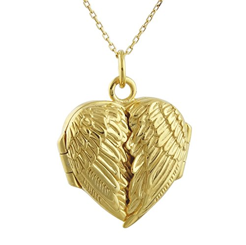 - FashionJunkie4Life 18K Gold Plated Sterling Silver Angel Wings Heart Locket Necklace, 18