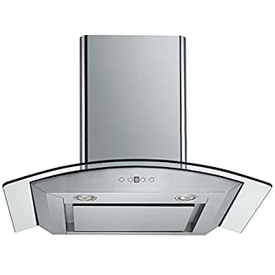 "CAVALIERE 30"" Wall Mounted Stainless Steel / Glass Kitchen Range Hood 860 CFM Spagna Vetro Econo Series SV198D-SP30"
