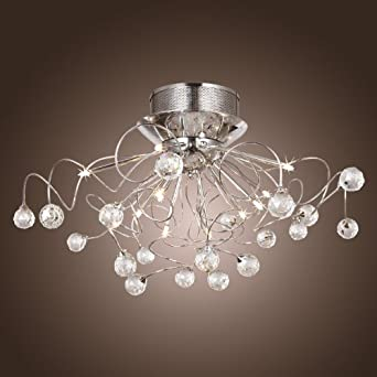 lightinthebox 11 light contemporary k9 crystal chandelier lighting bulb included chrome flush mount chandeliers modern ceiling light fixture for bedroom chandelier lighting