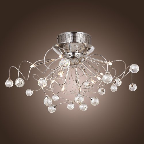 LightInTheBox Modern Crystal chandelier with 11 Lights Chrom, Flush Mount Chandeliers Modern Ceiling Light Fixture for Hallway, Entry, Bedroom, Living Room with Bulb Included Entry Chandelier Art