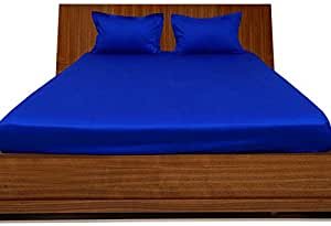 Brightlinen Royal Blue Double (135 X 190 Cm) Fitted Sheet Solid(pocket Size: 30 Cm) 3pcs
