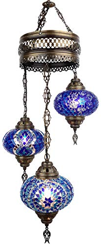 (19 Colors) Swag Light, Demmex 2019 Turkish Moroccan Mosaic Swag Plug in Chandelier with 15feet Cord Cable Chain & 3 Big Globes (Blues)