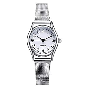 Relojes Mujer con Correa de Malla de Plata, Escala de Números Arábigos Relojes de Pulsera de Moda de Pequeño dial, Dial Blanca