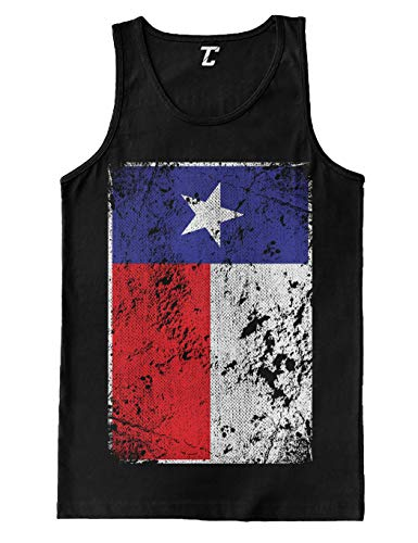 Star Lone Tank - Distressed Texas Flag - USA Lone Star State Men's Tank Top (Black, Large)