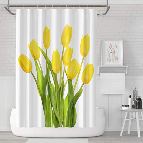 Asoco Shower Curtain Set with 12 Hooks Yellow Tulips Isolated White Mo r Day Polyester Fabric Waterproof Bath Curtain 72X78 Inches Decortive Bathroom