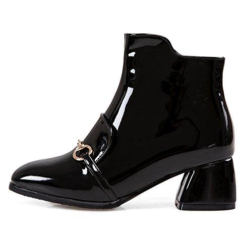 Side COOLCEPT Fashion Black Women Bootie Zipper 0tOqRwHOx