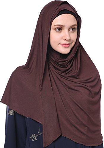 YI HENG MEI Women's Modest Muslim Islamic Soft Solid Cotton Jersey Inner Hijab Full Cover Headscarf,Coffee by YI HENG MEI (Image #4)