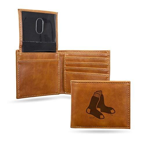 (Boston Red Sox MLB Laser Engraved Brown Billfold Wallet)