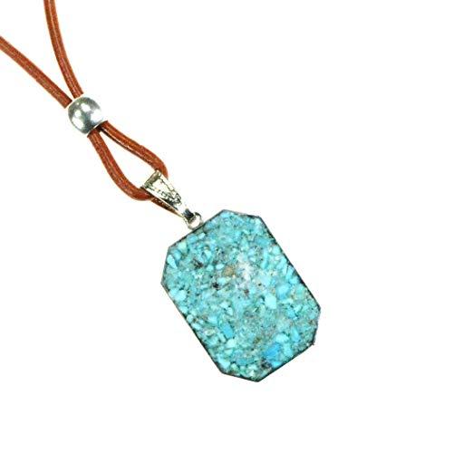 Kingman Turquoise - Kingman Arizona Turquoise Artisan Pendant Necklace with Saddle Tan Leather Cord, Peace and Harmony. TN10