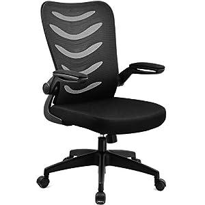 COMHOMA Chaise de Bureau Fauteuil Pivotant avec Siège Ergonomique Accoudoirs Pliables et Réglable en Hauteur (Noir)
