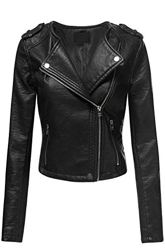 Luna Flower Women's Crop Faux Leather Double Breast Moto Zip Up Jackets Black Medium (Leather Cropped Jacket)