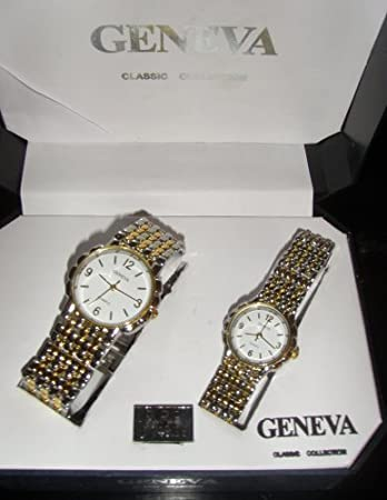 Amazon.com: Geneva Quartz Classic Collection His and Her Watch ...