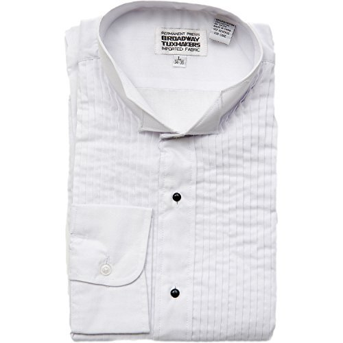 Broadway Tuxmakers Men's Wing Tip White Tuxedo Shirt 1/4 Inch Pleats by (Small 34/35) by Broadway Tuxmakers (Image #1)