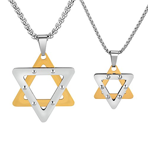 ABOOXIU 2PCS Stainless Steel Star of David Hexagram Pendant Chain Necklace 24