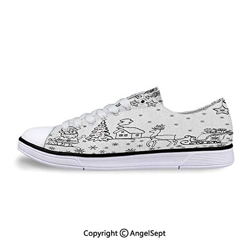 Low Top Canvas Shoes Sleigh Rudolph Reindeer Toys Jingle Lace Up Sneakers