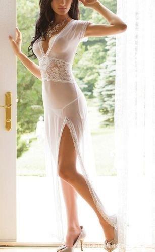Fastar ropa interior para mujer Vestido atractivo del cordón ropa interior ropa de noche de Babydoll + G-secuencia Blanco