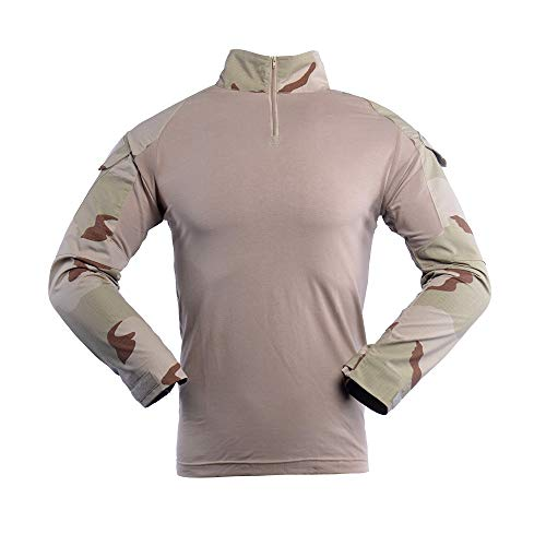 - Camo Combat T Shirt Men's Long Sleeve Tactical Shirt Military Army Airsoft Hunting T-Shirts Tricolor Desert L