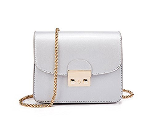 Women Handbag Solid Color PU Leather Clutch Purse with Chain Mini Shoulder Strap Blue Silver