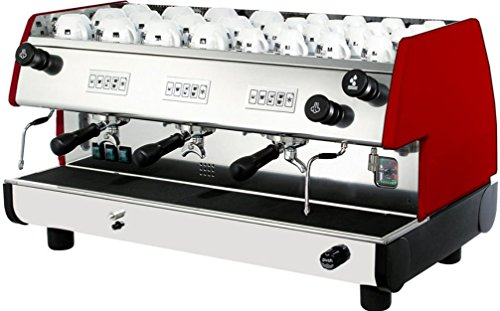 La Pavoni BAR-T 3V-R Model Bar-T 3V Commercial Volumetric Espresso Machine, Ruby Red; Groups made with press-forged brass and chrome plated, with vertical infusion chamber and pressurisation system