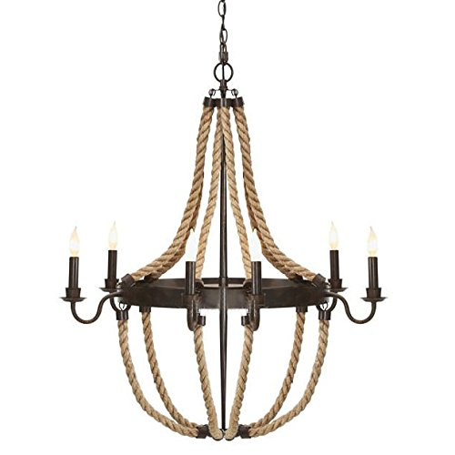 Aged Black Base - Adjustable Industrial Aged Iron Black Finish Rope Chandelier - LITFAD 30
