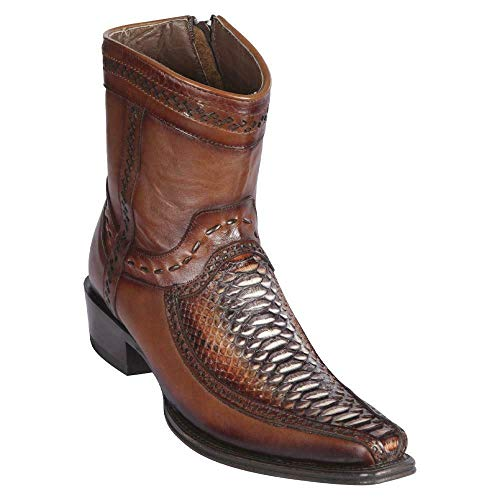 Dona Michi Men's Los Altos Python and Deer Boots European Square Toe Handcrafted
