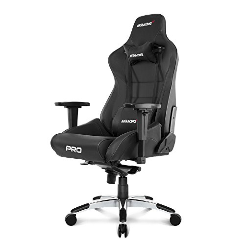 AKRacing Masters Series Pro Luxury XL Gaming Chair with High Backrest, Recliner, Swivel, Tilt, 4D Armrests, Rocker & Seat Height Adjustment Mechanisms, 5/10 Warranty - Black