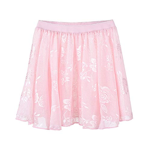 Soudittur Girls Ballet Skirt Pink Lace Dance