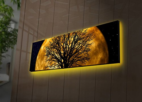 LaModaHome Space Led Lighted Canvas Wall Art - A Tree Stands in Front of The Moon, Little Stars, Yellow - Wooden Thick Frame Painting, Size (11.5