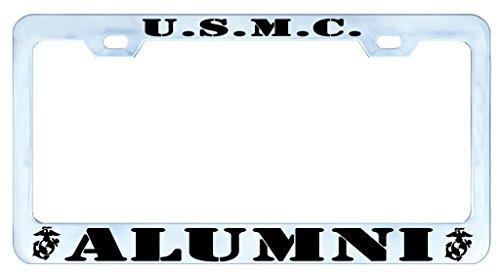 U.S.M.C. ALUMNI USMC MARINE Auto License Plate Frame Tag Metal, Weatherproof Vinyl Letters Chrome ()
