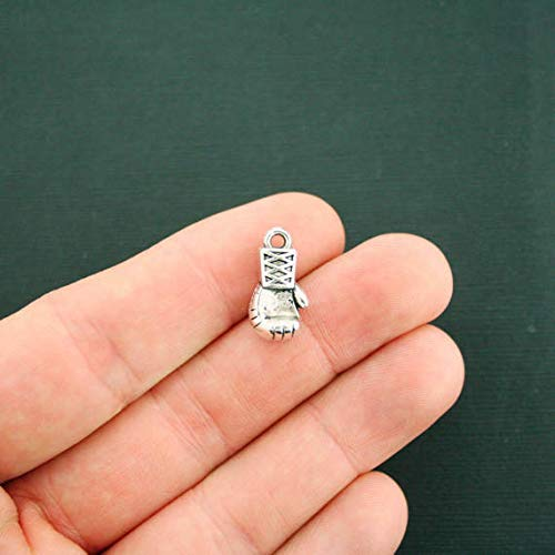 8 Boxing Glove Charms Antique Silver Tone 3D Jewelry Making Supply, Pendant, Bracelet, DIY Crafting and Other by Wholesale Charms