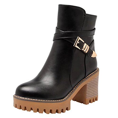 Heel Bootie Boots AIYOUMEI Ankle Buckle Solid Womens Winter Black Zipper Side Toe Round Block Autumn with EqCqU