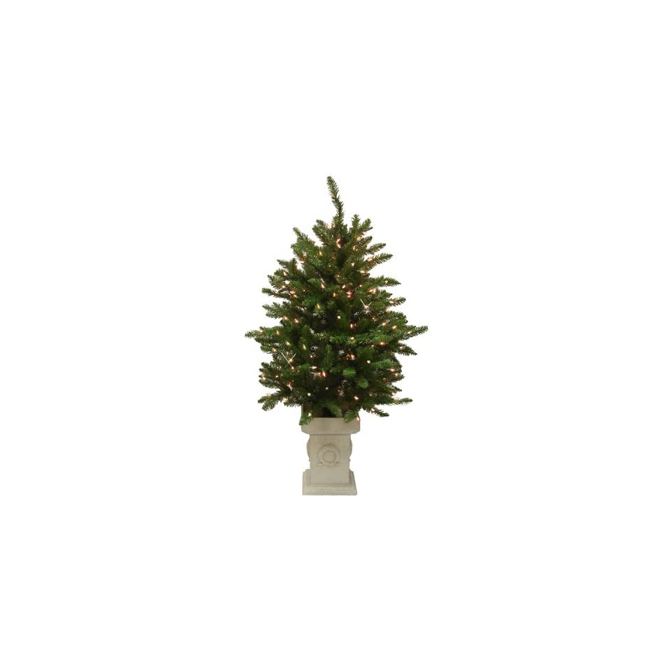 4 Pre Lit Potted Classic Spruce Artificial Christmas Tree   150 Clear Lights